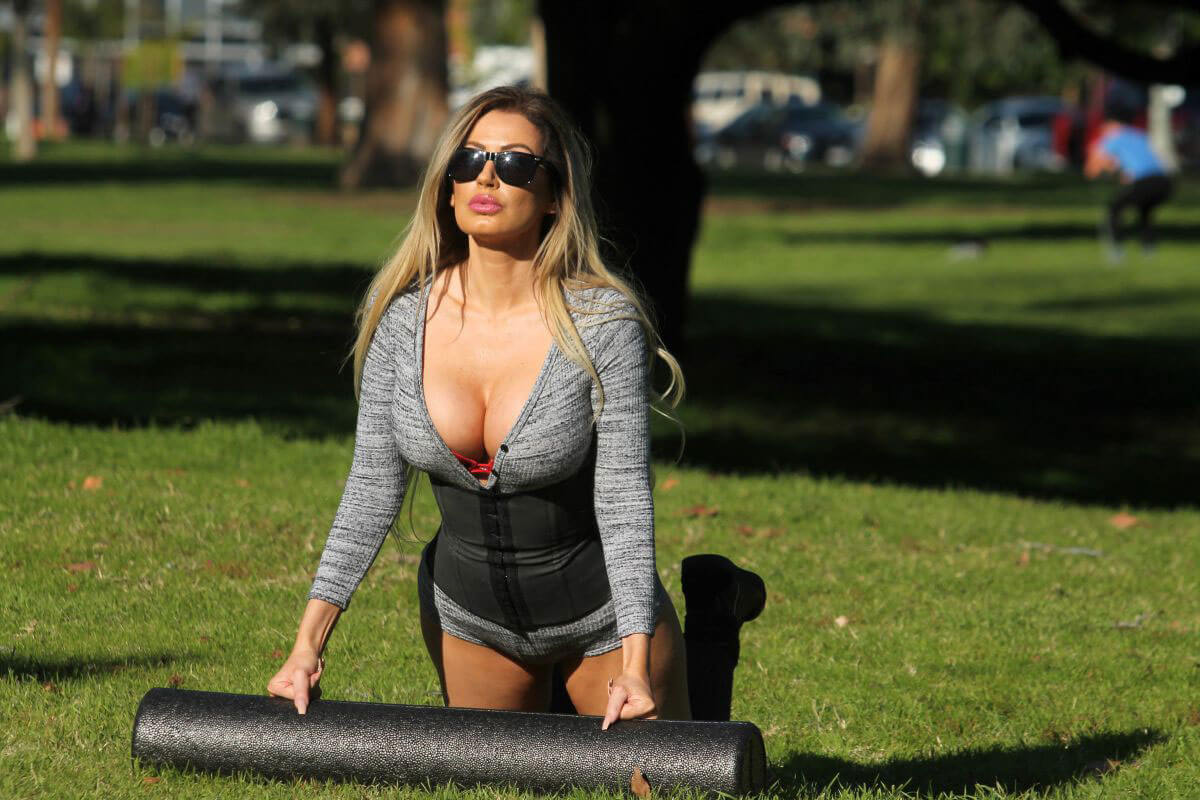 Ana P. Braga Stills Working Out at a Park in Studio City
