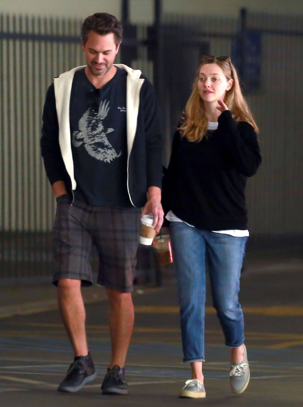 Amanda Seyfried and Thomas Sadoski at a Starbucks in Los Angeles