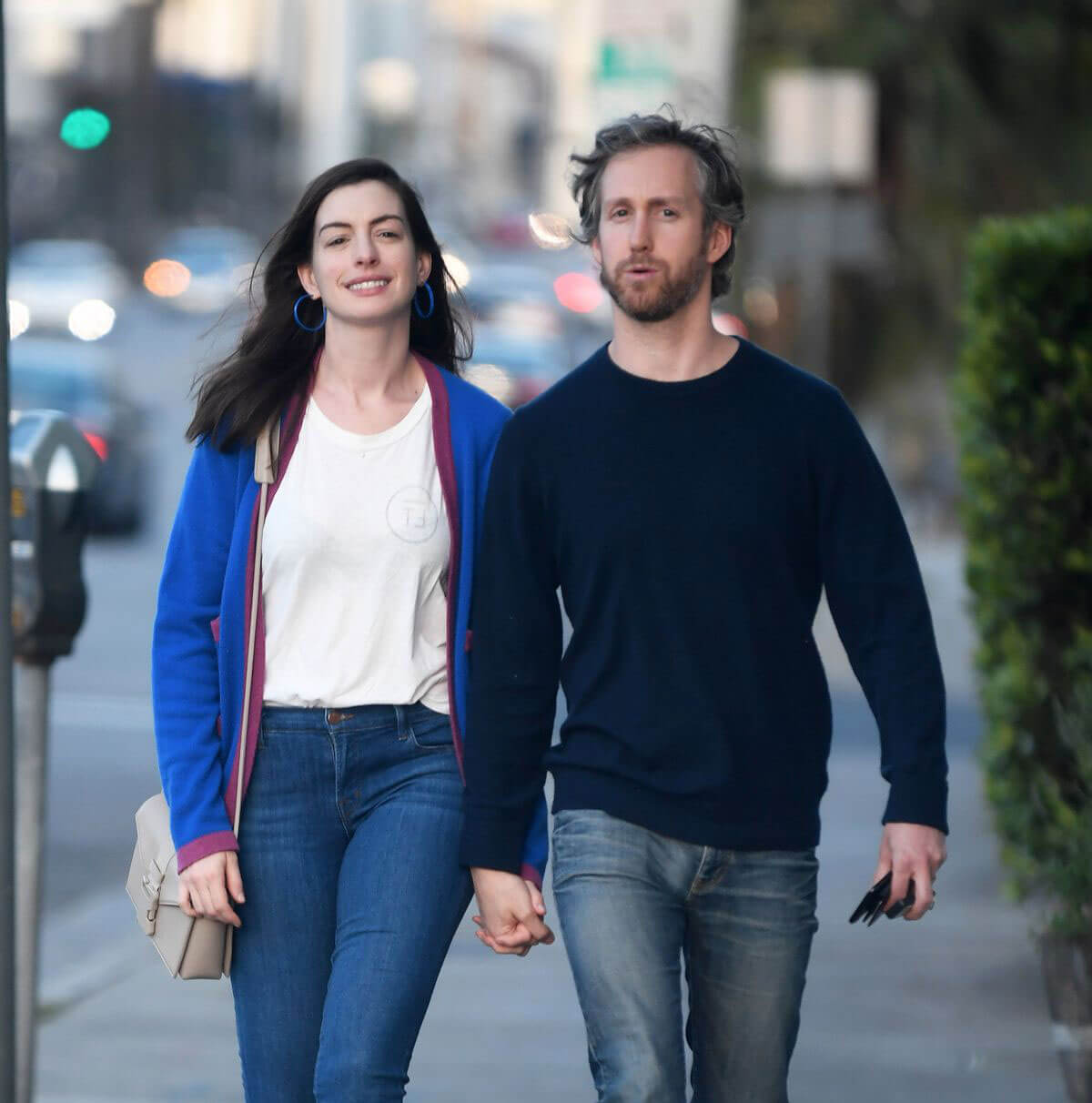 Anne Hathaway and Adam Shulman Stills Out for Dinner in Los Angeles