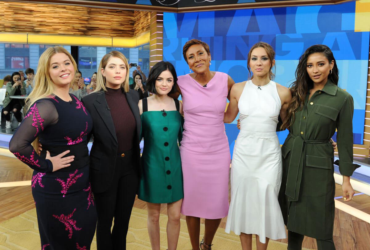 Ashley Benson, Shay Mitchell, Sasha Pieterse, Troian Bellisario and Lucy Hale at Good Morning America