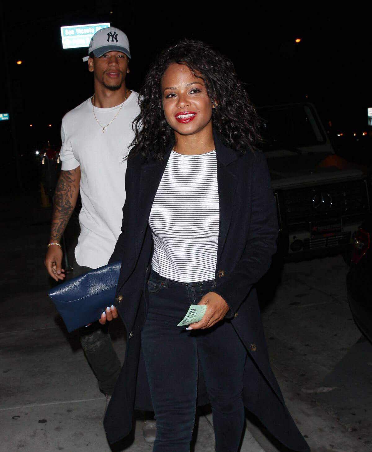 Christina Milian and Brandon Marshall Stills Leaves Catch LA in West Hollywood