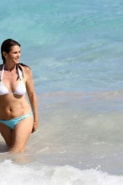 Cindy Crawford in Bikini Swimming in the Sea in St. Barts