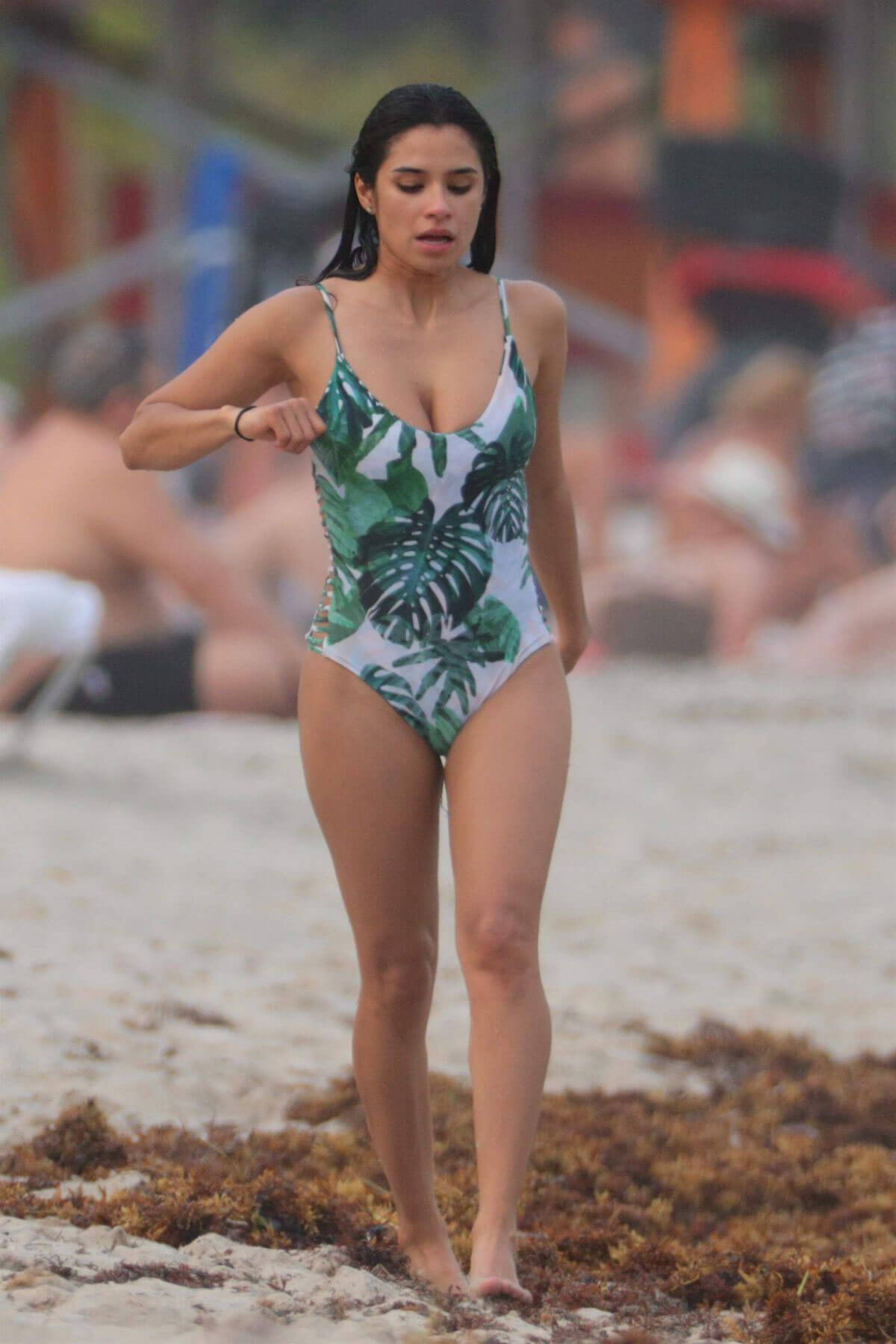 Diane Guerrero Stills in Swimsuit at a Beach in Miami