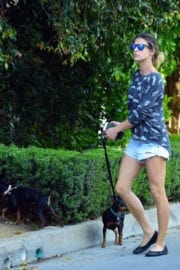 Elisabetta Canalis Stills in Daisy Dukes Walks Her Dog Out in Beverly Hills
