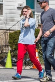 Elle Fanning Stills on the Set of I Think We're Alone Now in Westchester County