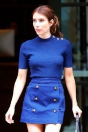 Emma Roberts in Blue Jeans Short Skirt Out in New York