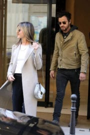 Jennifer Aniston and Justin Theroux Stills Leaving Chanel Store in Paris