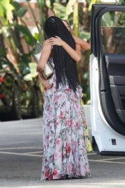 Melanie Janine Brown Stills in Floral Print Maxi Dress Out in Los Angeles