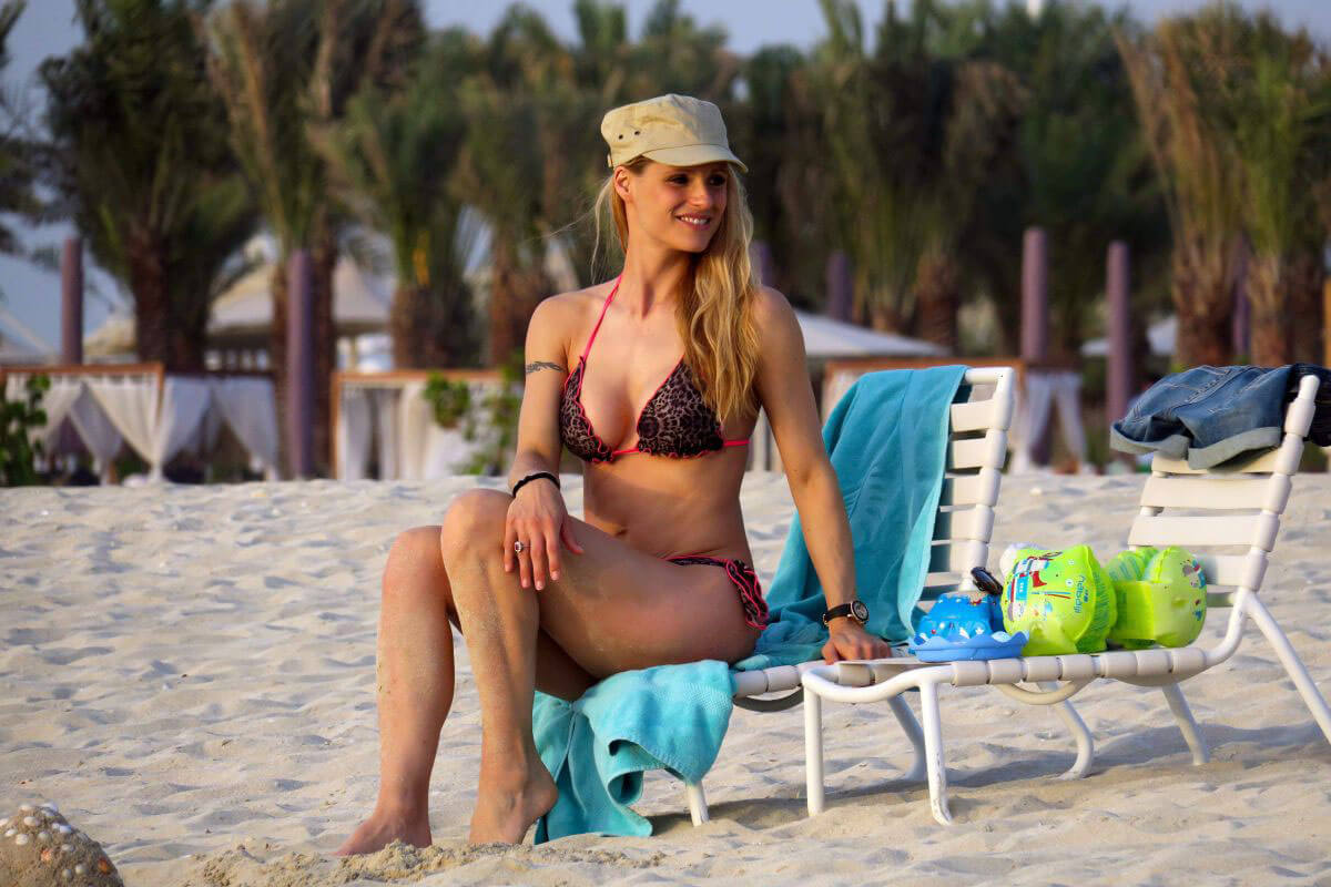 Michelle Hunziker Stills in Bikini on the Beach in Dubai
