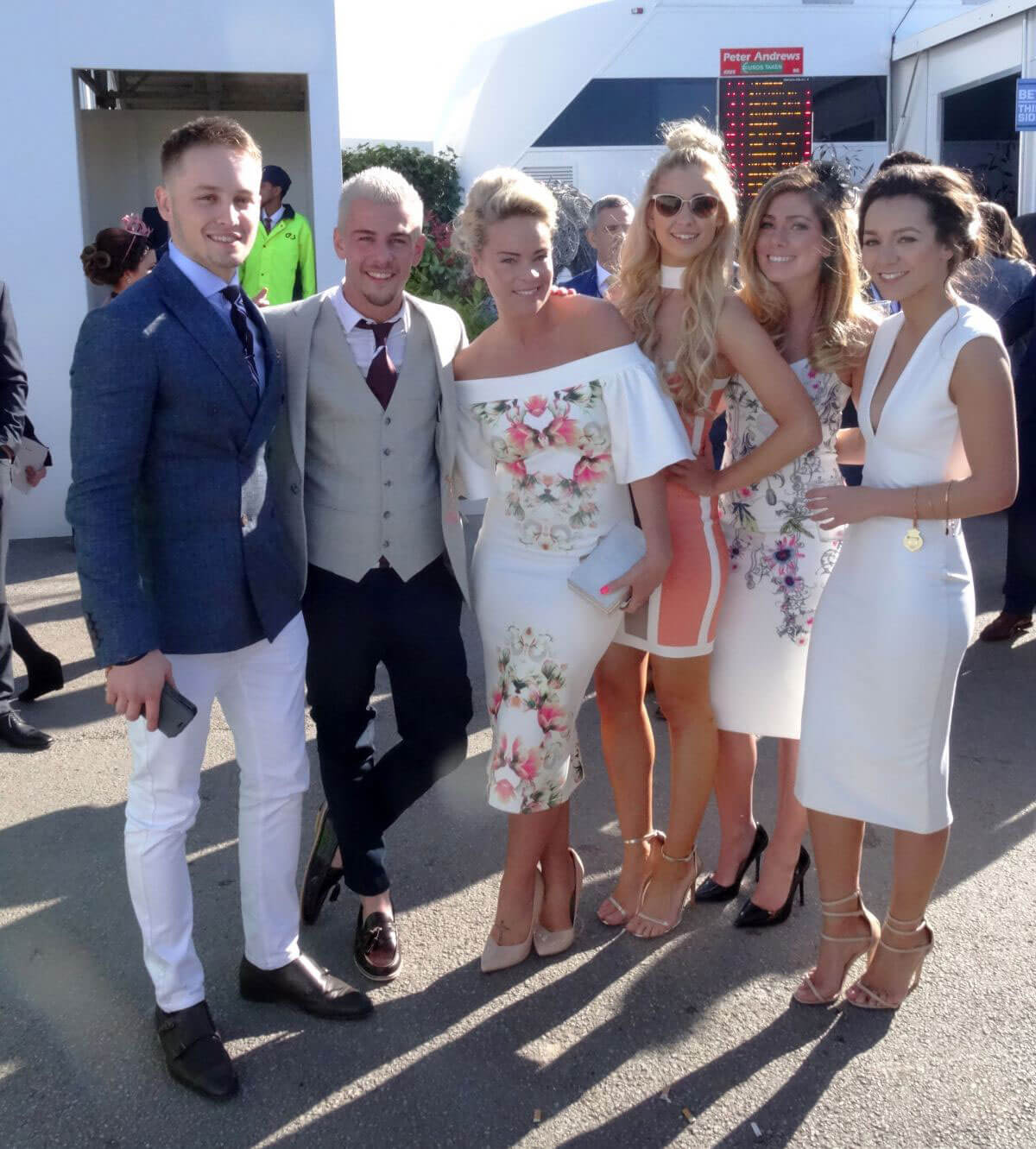 Nikki Sanderson, Nadine Rose Mulkerrin, Tamara Wall and Amanda Clapham at Grand National Ladies Day at Aintree in Merseyside