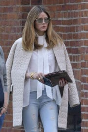 Olivia Palermo Stills in Ripped Jeans Out in New York