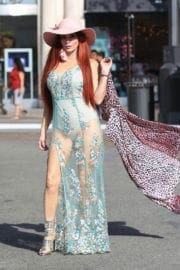 Phoebe Price Stills Out with Her Dog at The Grove in Hollywood