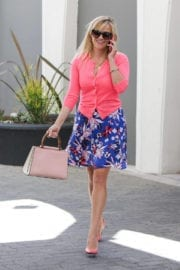 Reese Witherspoon in Blue Skirt and Pink Top Out in Los Angeles