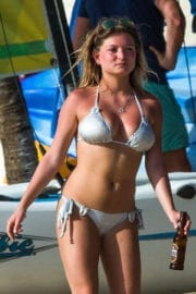 Zara Holland Stills in Bikini at a Beach in Barbados