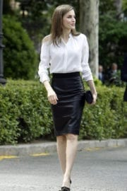 Queen Letizia Of Spain Arrives at National Library in Madrid