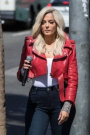 BEBE REXHA Arrives at Jimmy Kimmel Live in Los Angeles