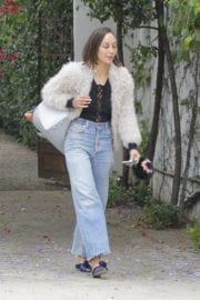 CARA SANTANA Walks Her Dogs Out in Beverly Hills