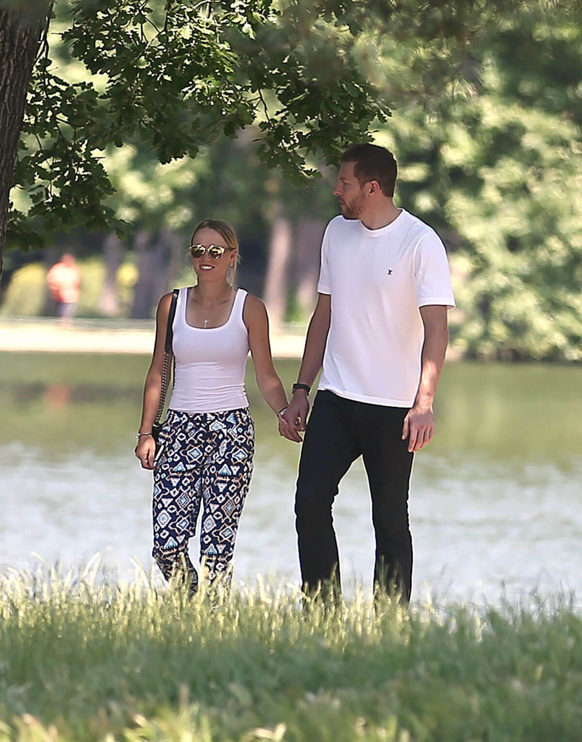 Caroline Wozniacki and David Lee Out for Lunch at Chalet Des Iles in Paris