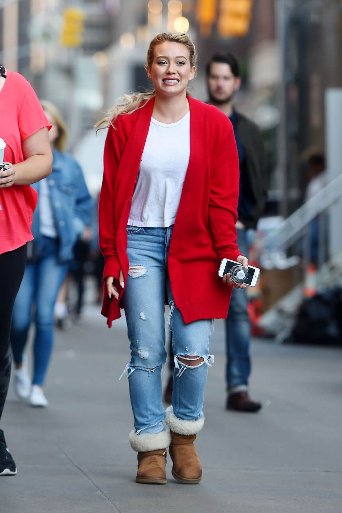 HILARY DUFF Arrives on the Set of Younger in New York