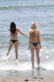 Lottie Moss and Emily Blackwell in Bikinis on the Beach in Marbella
