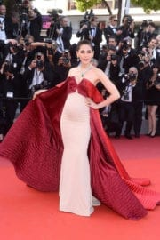 Pregnant Araya A. Hargate at The Meyerowitz Stories Premiere at 70th Annual Cannes Film Festival