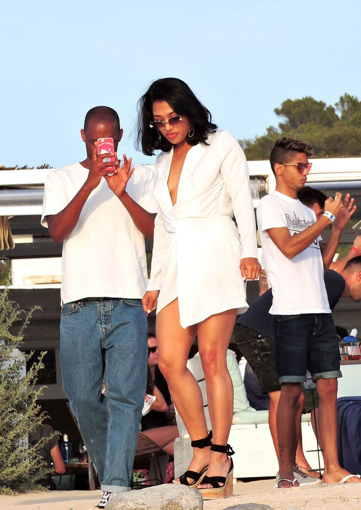 VANESSA WHITE Out at a Beach in Ibiza