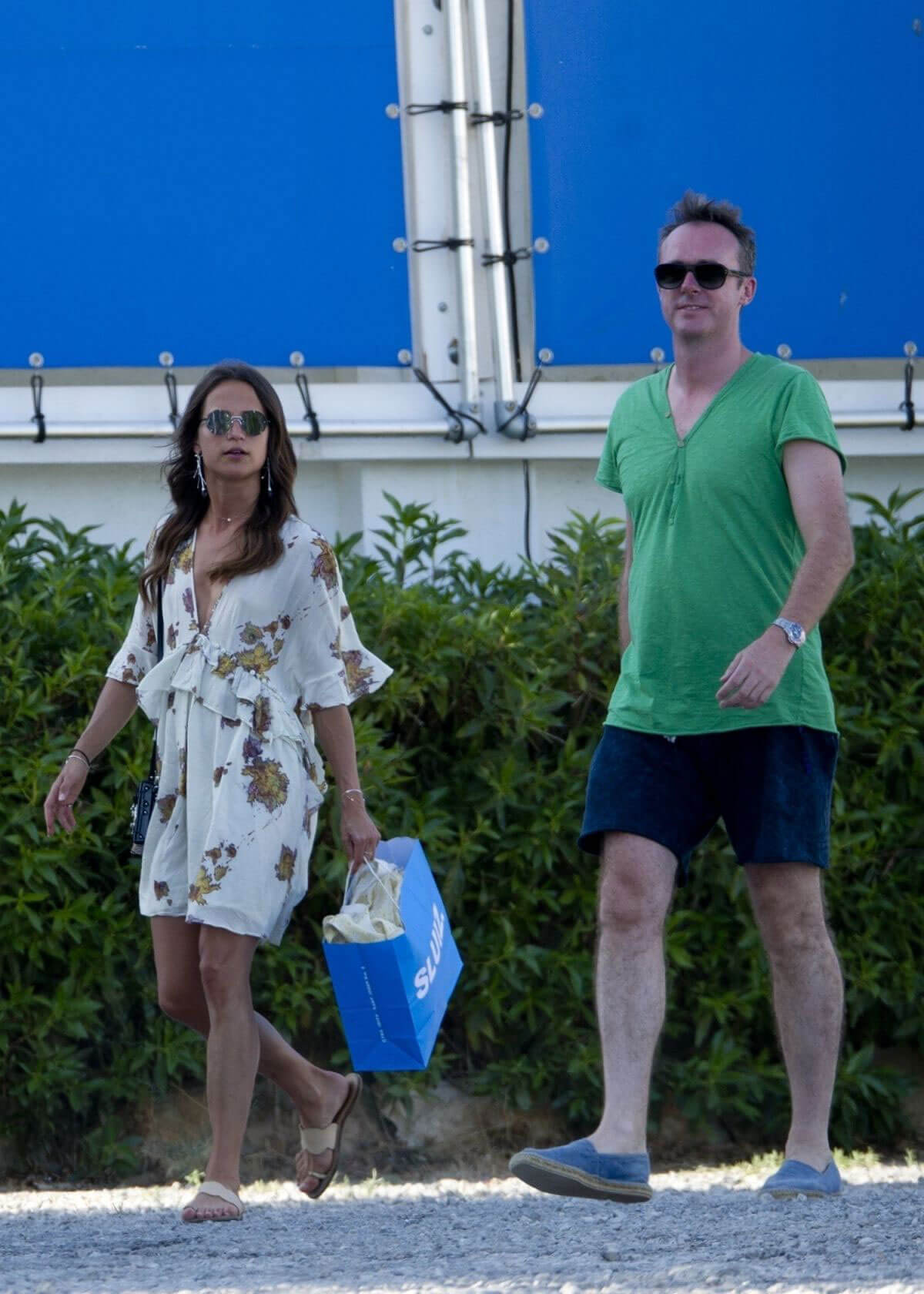 Alicia Vikander and Michael Fassbender Stills out Shopping in Ibiza