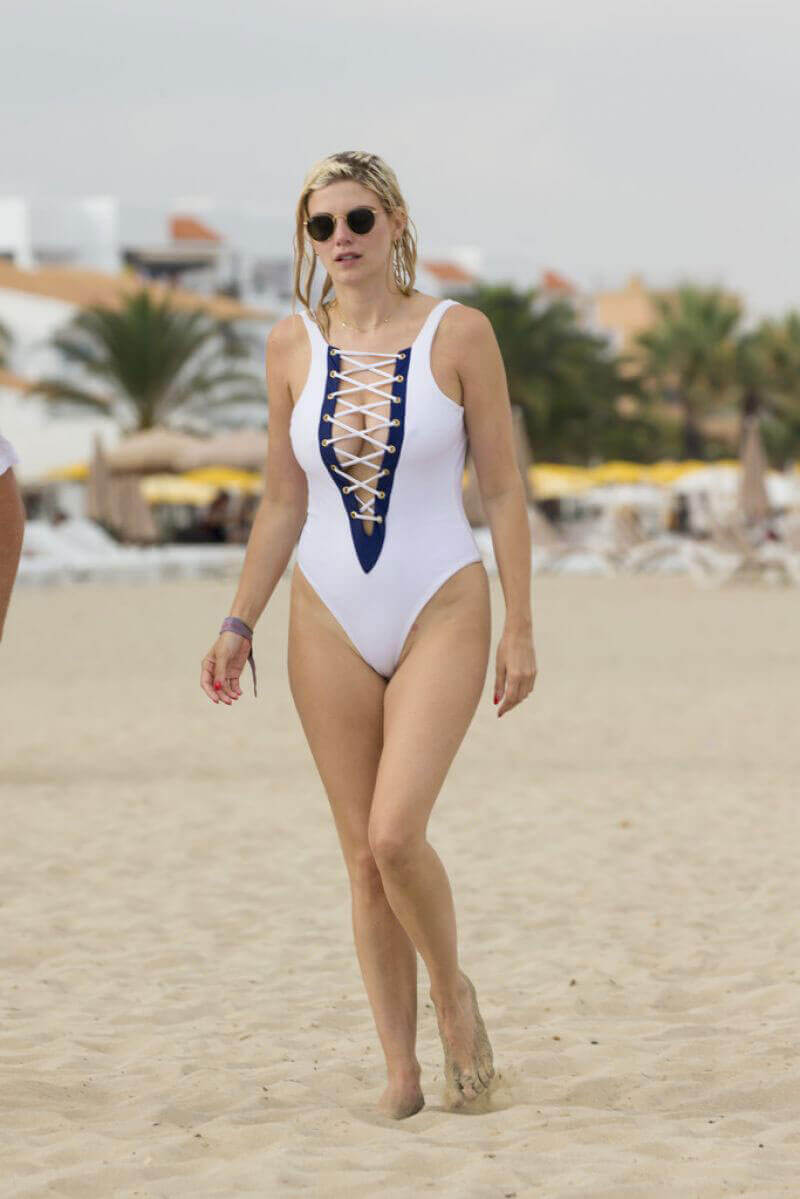 Ashley James in Swimsuit at a Beach in Ibiza Photos