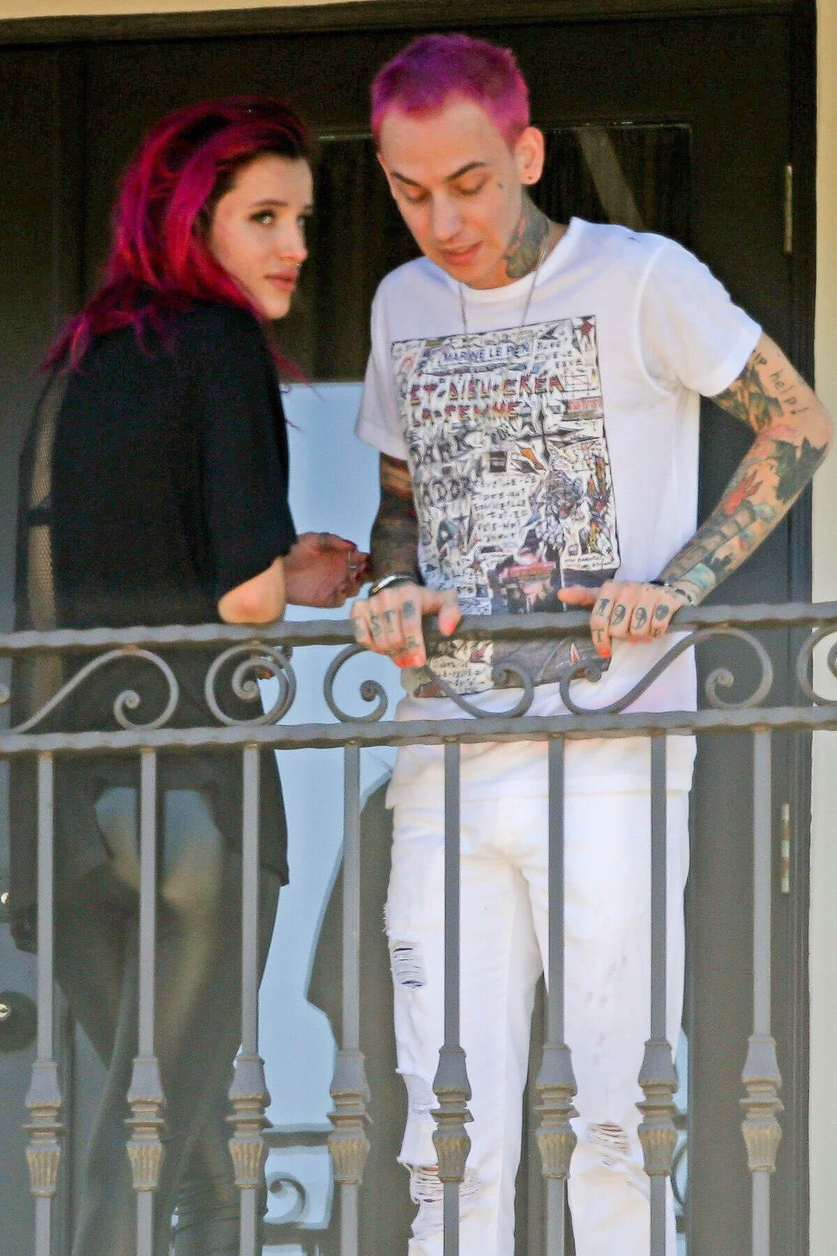 Bella Thorne and Her Boyfriend Rapper Blackbear on the Balcony of Their Hotel in Los Angeles