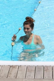 Blanca Blanco Stills in Swimsuit at a Pool in Ischia