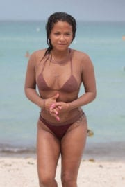 Christina Milian Stills in Bikini on the Beach in Miami Images