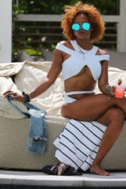 Eva Marcille in Bikini at a Pool in South Beach Photos