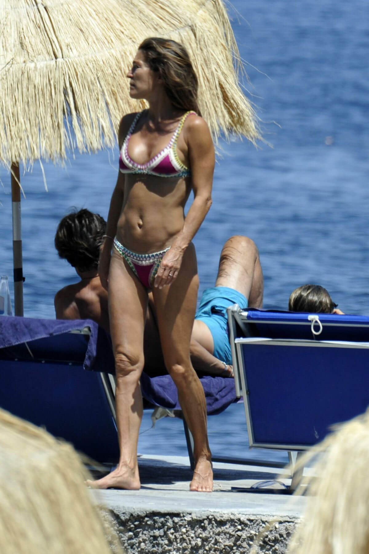 Fiona Swarovski Stills in Bikini at a Beach in Hotel Regina in Ischia