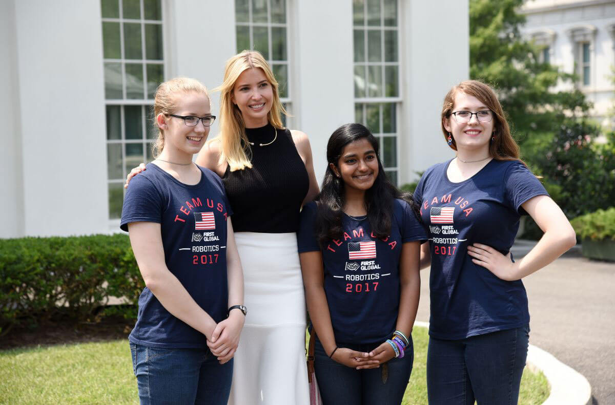 Ivanka Trump with Students Photos in Front of West Wing at White House