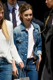 Lily Collins Stills at Leaving AOL Build in New York Photos