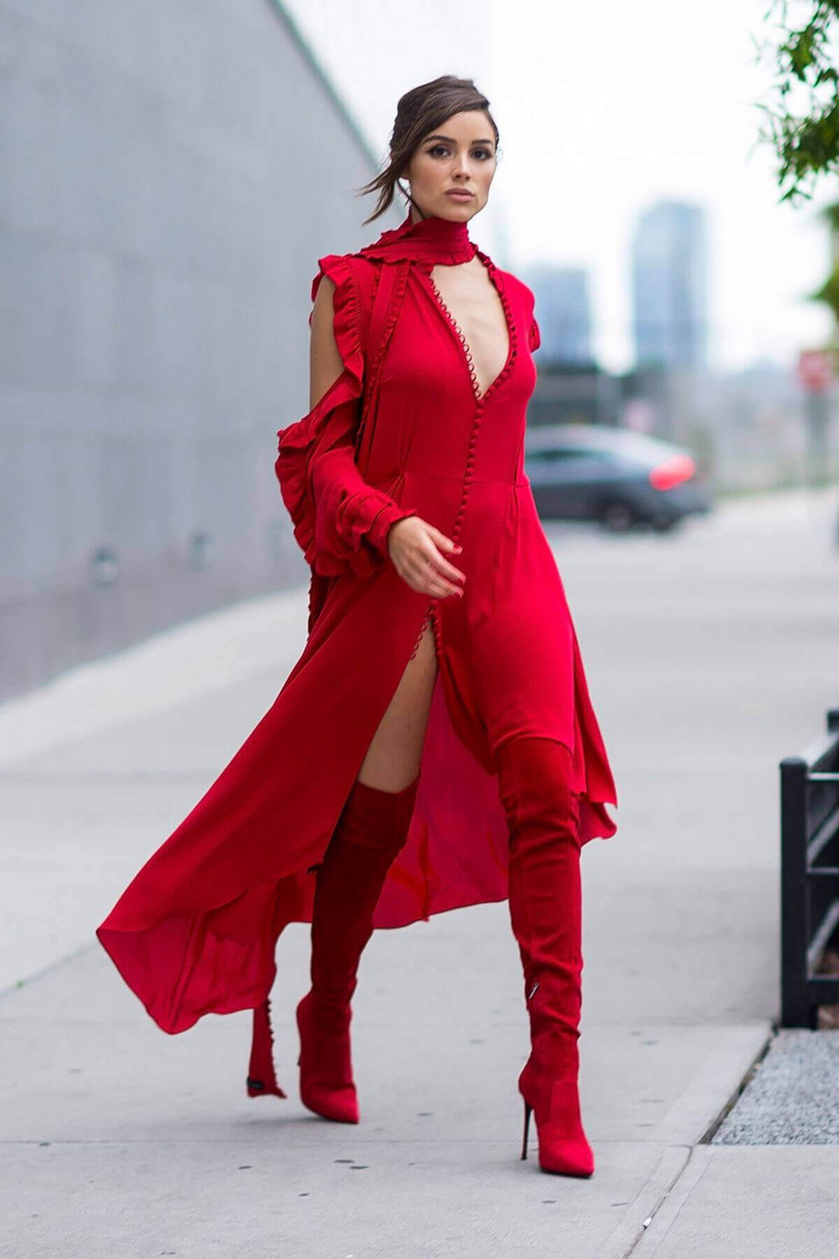 Olivia Culpo Wearing Red Dress Out and About in Long Island