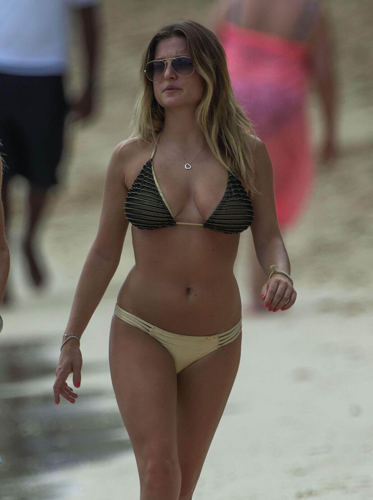 Zara Holland Stills in Bikini at a Beach in Barbados Images