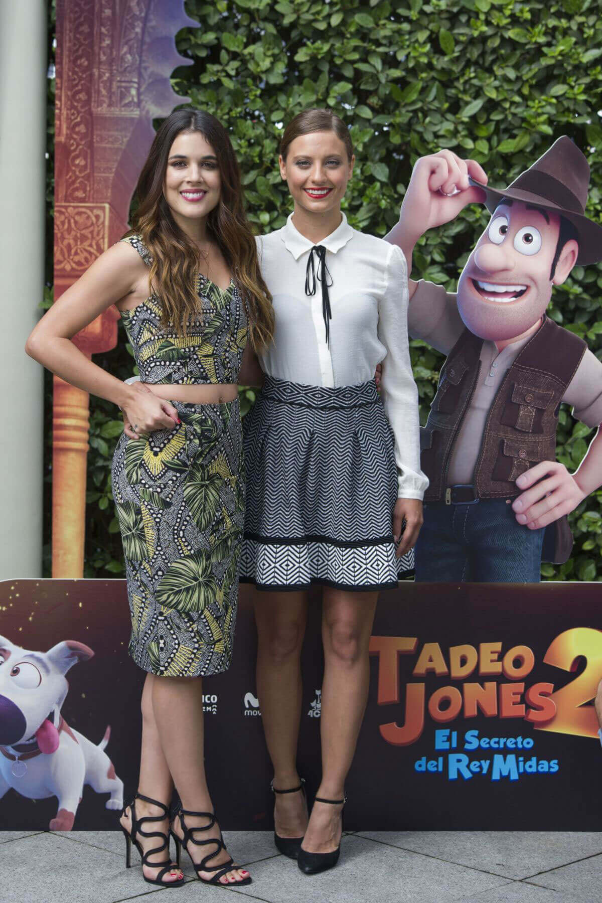 "Adriana Ugarte and Michelle Jenner Stills at ""Tadeo Jones 2"" El Secreto Del Rey Midas Photocall in Madrid"