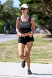 Alessandra Ambrosio wearing shorts shows off toned thighs in Los Angeles