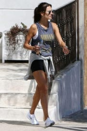 Alessandra Ambrosio wears Nirvana top for gym workout in Los Angeles