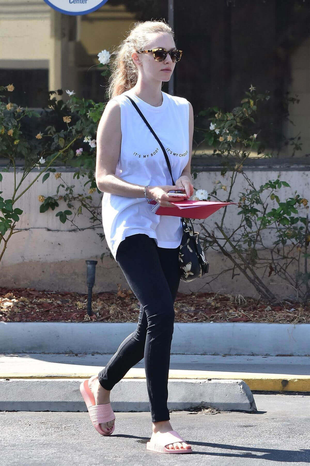 """Amanda Seyfried wears """"Its My Body, Its My Choice"""" Top Out and About in West Hollywood"""