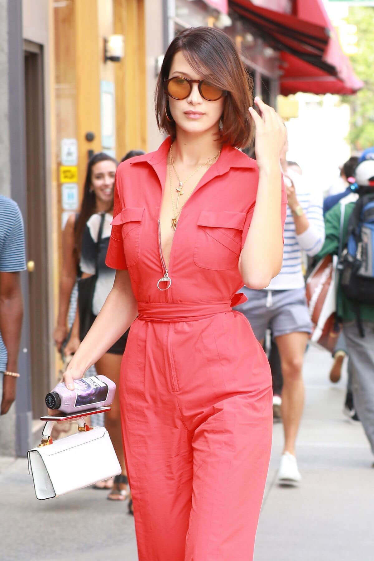 Bella Hadid Stills all in Red Dress Out in New York