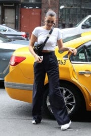 Bella Hadid Stills Leaves a Cab Out in New York Images