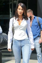 Bella Hadid wears white shirt and blue jeans out and about in New York