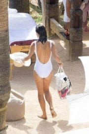 Bethenny Frankel Stills in Swimsuit at a Beach in Ibiza