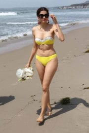 Blanca Blanco wears yellow Bikini on the Set of a Photoshoot in Malibu