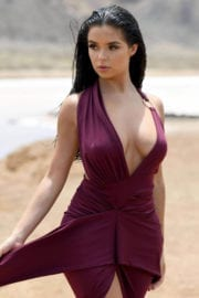 Braless Demi Rose displays her assets of a photoshoot in Cape Verde