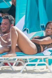Christina Milian Stills in Bikini on the Beach in Miami