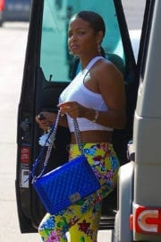 Christina Milian wears flowers bottom out for lunch in Studio City