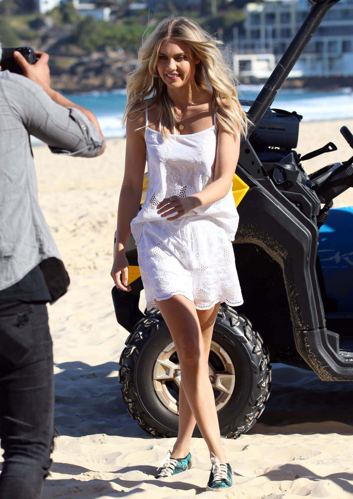 Elyse Knowles Photoshoot in jumpsuit for Ugg Shoes at Bondi Beach